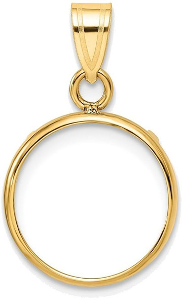 14k Yellow Gold 13mm Polished Prong Coin Bezel Pendant