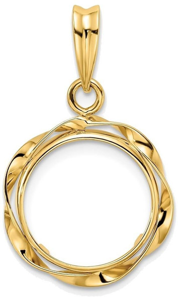 14k Yellow Gold Hand Twisted Ribbon 13mm Prong Coin Bezel Pendant