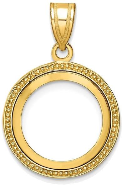 14k Yellow Gold 14mm Beaded Prong Coin Bezel Pendant
