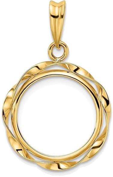 14k Yellow Gold Hand Twisted Ribbon 15mm Prong Coin Bezel Pendant