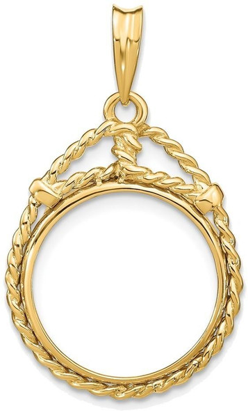 14k Yellow Gold 1/10oz American Eagle Coin Western Rope 16.5mm Prong Coin Bezel Pendant