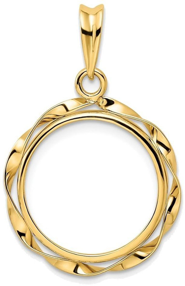 14k Yellow Gold Hand Twisted Ribbon 16mm Prong Coin Bezel Pendant