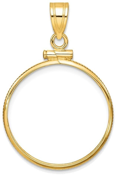 14k Yellow Gold 1/4oz American Eagle Coin 22mm Polished Screw Top Coin Bezel Pendant