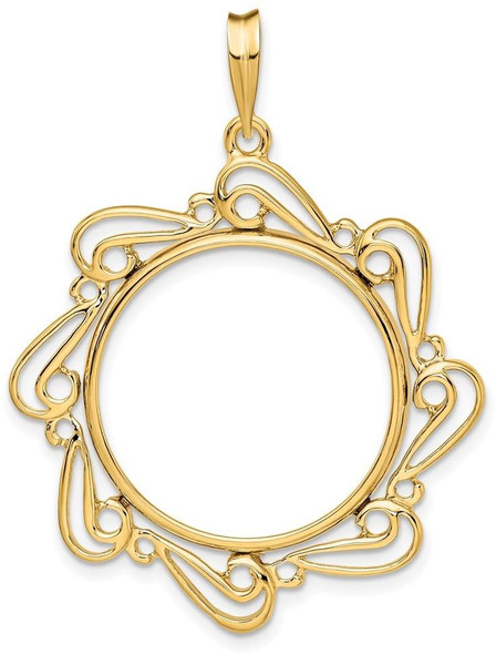 14k Yellow Gold 1/4oz American Eagle Coin Polished Curved Scroll 22mm Prong Coin Bezel Pendant