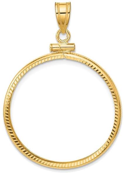 14k Yellow Gold 1/2oz American Eagle Coin 27mm Diamond-cut Screw Top Coin Bezel Pendant