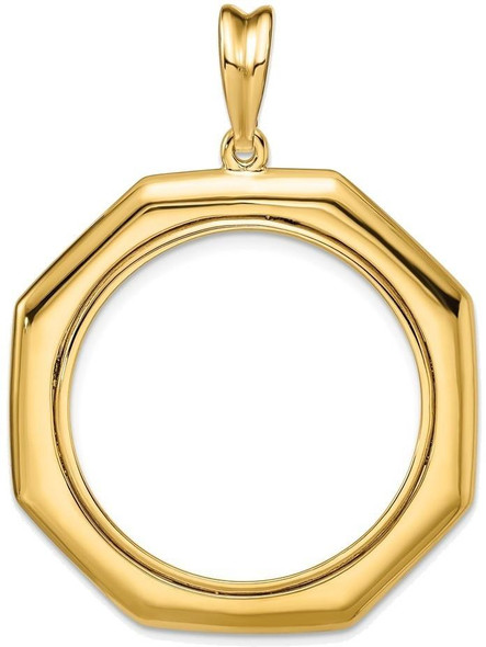 14k Yellow Gold 1/2oz American Eagle Coin Polished 27mm Octagonal Prong Coin Bezel Pendant