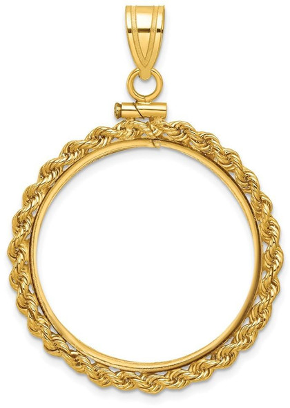 14k Yellow Gold 1/2oz American Eagle Coin 2mm Rope Screw Top 27mm Coin Bezel Pendant