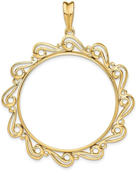 14k Yellow Gold Polished Curved Scroll 34.2mm Prong Coin Bezel Pendant