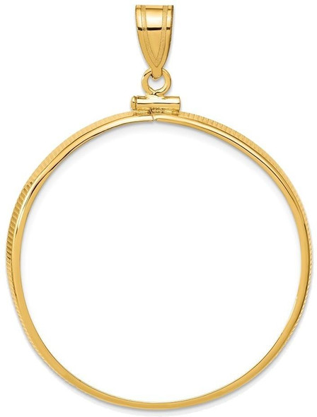 14k Yellow Gold 37mm Polished Screw Top Coin Bezel Pendant