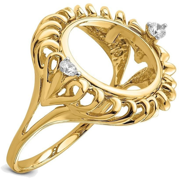 14k Gold Rhodium Ladies' Fluted Wire Two AA Diamond 14mm Coin Bezel Ring