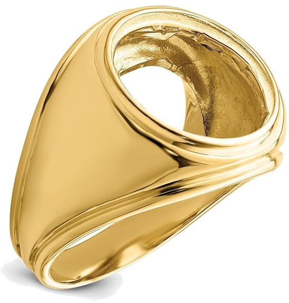 14k Yellow Gold Mens Comfort Fit Concaved 15mm Coin Bezel Ring