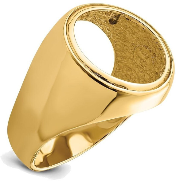 14k Yellow Gold Mens Polished Classic Open Back 15mm Coin Bezel Ring