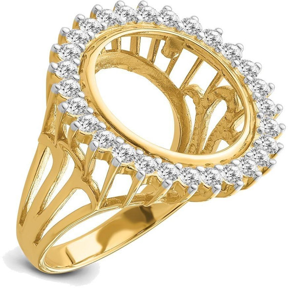 14k Gold Rhodium Ladies' Wire AA Diamond 15mm Coin Bezel Ring