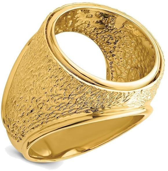 14k Yellow Gold Mens Textured Design 17.8mm Coin Bezel Ring