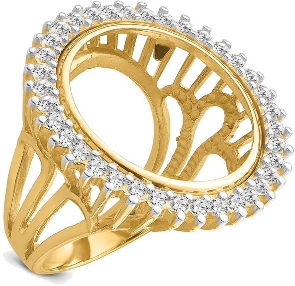 14k Gold Rhodium Ladies' Wire AA Diamond 19mm Coin Bezel Ring