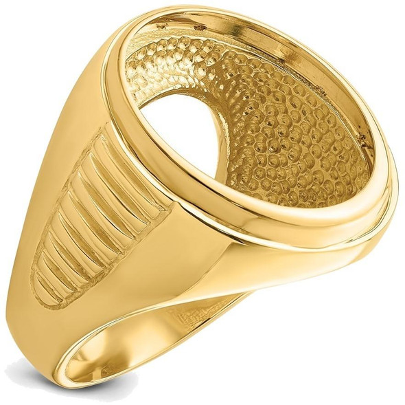 14k Yellow Gold Mens Ribbed Center Design Side 21.6mm Coin Bezel Ring