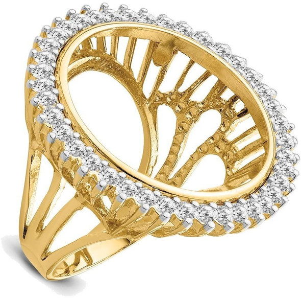 14ky Rhodium Ladies' Wire AA Diamond 22mm Coin Bezel Ring