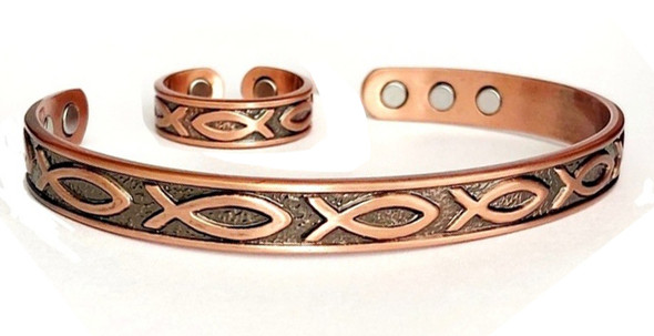 Ichtus - Solid Copper Magnetic Cuff Bracelet and Ring Set