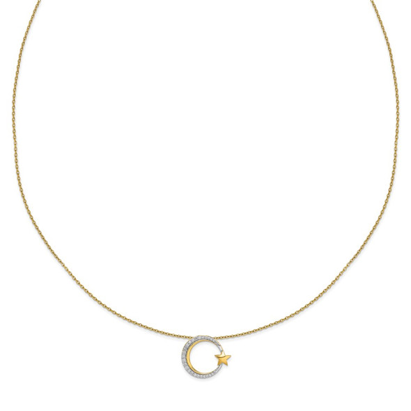 14k Yellow Gold Polished Moon and Star Diamond Chain Slide Necklace