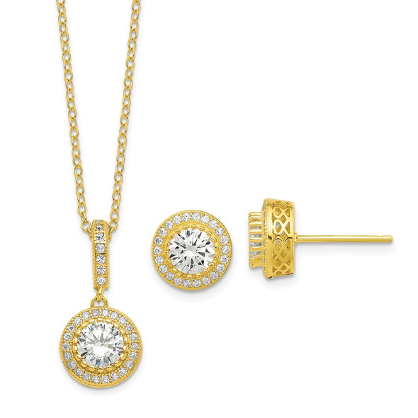 Sterling Silver Polished Gold-tone CZ 18in Necklace/Post Earrings Set QG6192SET