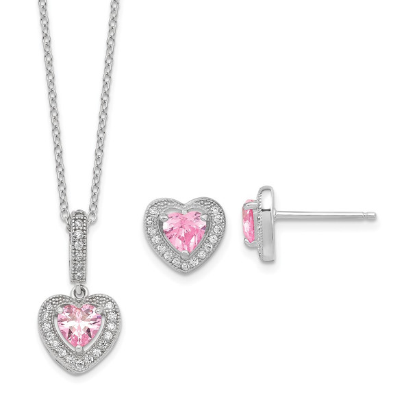 Sterling Silver Polished Rhodium CZ Heart 18in Necklace/Earrings Set