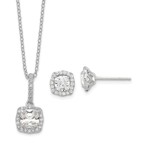 Sterling Silver Polish Rhodium-plated CZ 18in Necklace/Post Earrings Set QG6195