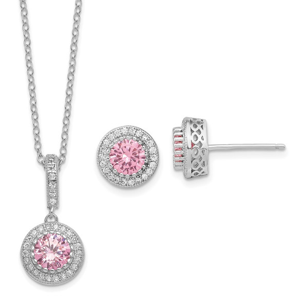 Sterling Silver Polish Rhodium-plated CZ 18in Necklace/Post Earrings Set QG6197