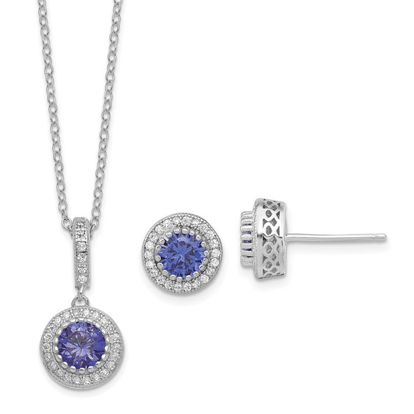 Sterling Silver Polish Rhodium-plated CZ 18in Necklace/Post Earrings Set QG6198