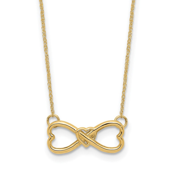 14k Yellow Gold Polished Infinity w/Heart Necklace
