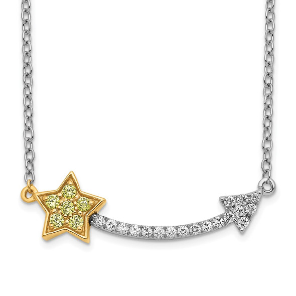 14k Two-Tone Gold Diamond/Yellow Sapphire Star and Arrow Necklace