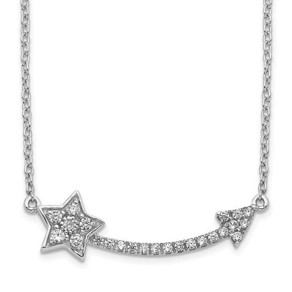 14k White Gold Diamond Star and Arrow Pendant Necklace