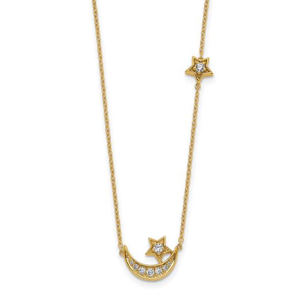 14k Yellow Gold Moon & Star Diamond 18in Necklace
