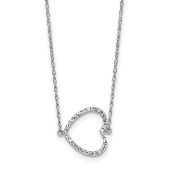 14k White Gold Sideways Diamond Heart 18in Necklace
