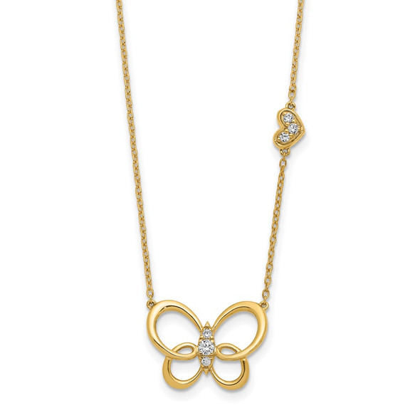 14k Yellow Gold Diamond Butterfly 18in Necklace