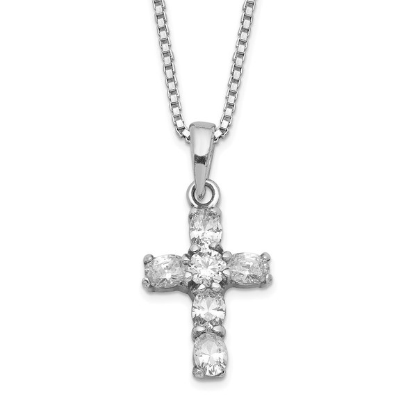 Rhodium-plated Sterling Silver CZ Cross on 16 Box Chain Necklace