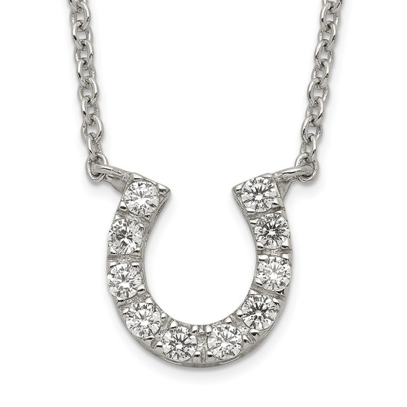 Sterling Silver CZ Horseshoe Necklace QG2032-16