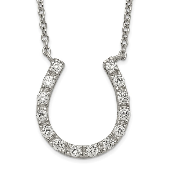 Rhodium-plated Sterling Silver CZ Horseshoe Necklace