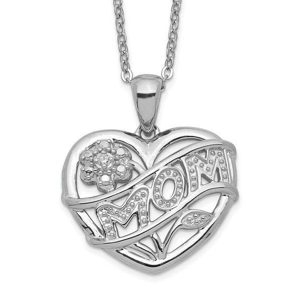 Rhodium-plated Sterling Silver MOM Necklace