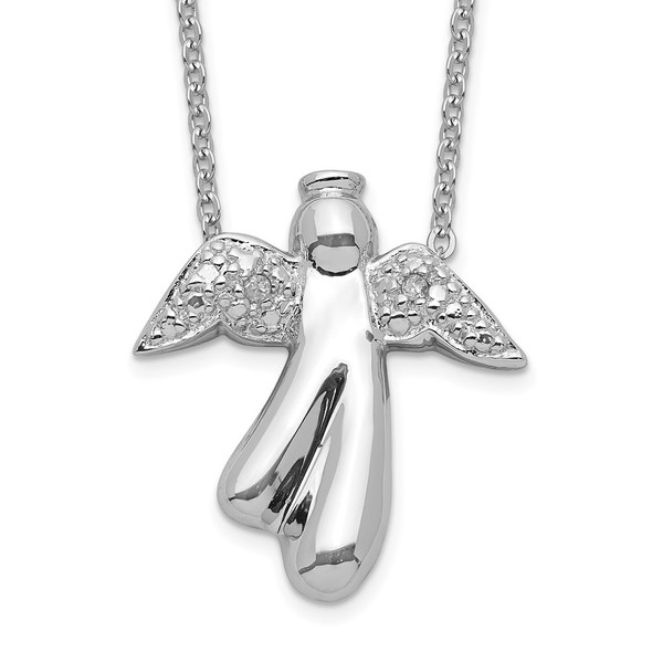 Rhodium-plated Sterling Silver Diamond Angel Necklace