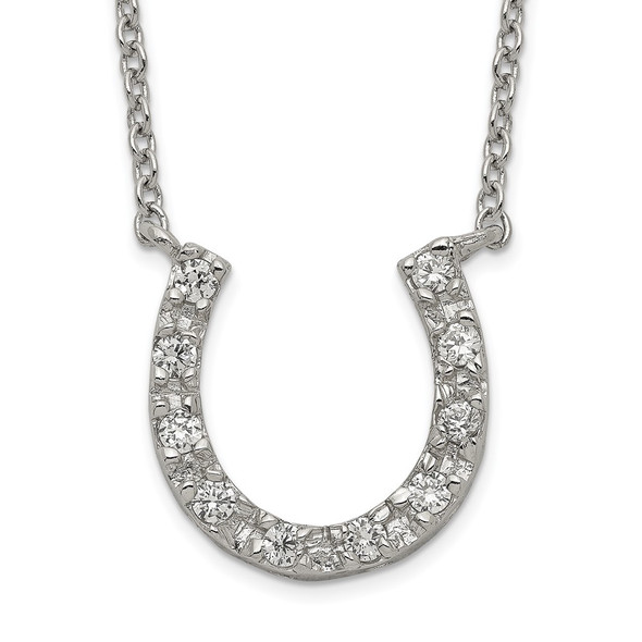 Sterling Silver CZ Horseshoe Necklace QG2583-16