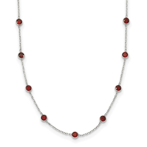Sterling Silver 9-Station Red CZ Necklace
