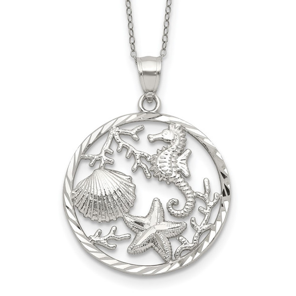 Sterling Silver Seahorse, Starfish and Shell Pendant Necklace