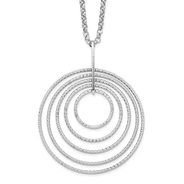 Rhodium-plated Sterling Silver Diamond-cut Multi-Circles w/2in ext Necklace