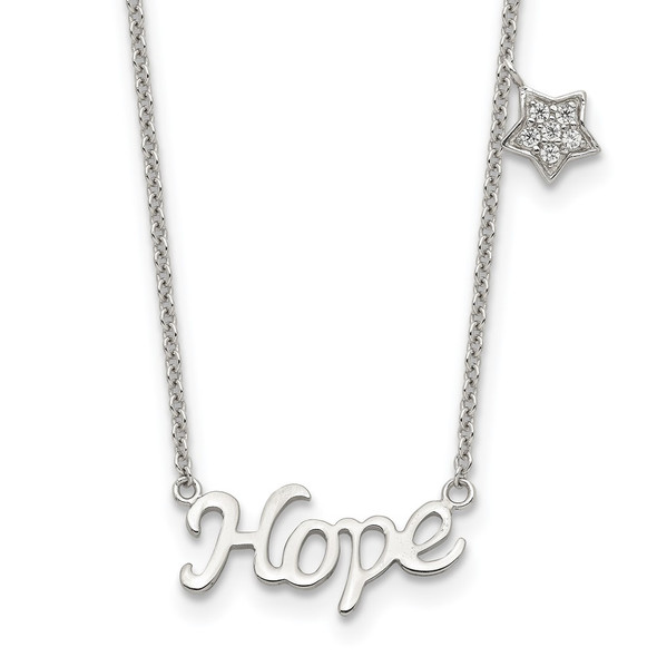 Rhodium-plated Sterling Silver HOPE CZ Star 16in w/2 in ext Necklace