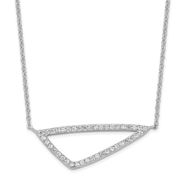 Rhodium-plated Sterling Silver CZ Triangle Necklace
