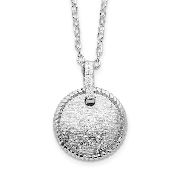 Rhodium-plated Sterling Silver Matte Puffed Circle w/2in ext. Necklace