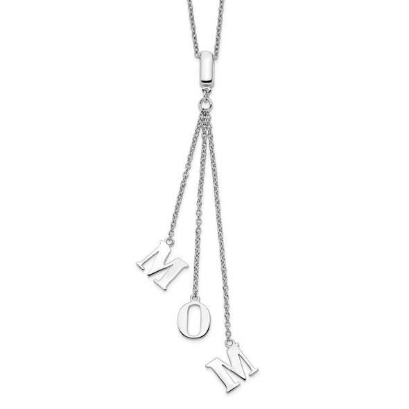 Rhodium-plated Sterling Silver CZ w/2in ext. MOM Y-Necklace
