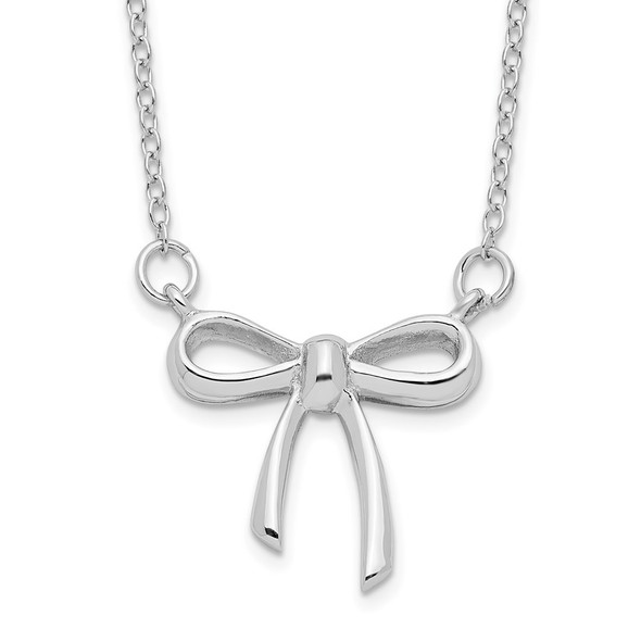 Rhodium-plated Sterling Silver 18in Bow Necklace