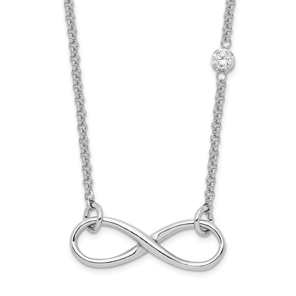 Rhodium-plated Sterling Silver CZ Infinity Knot Necklace