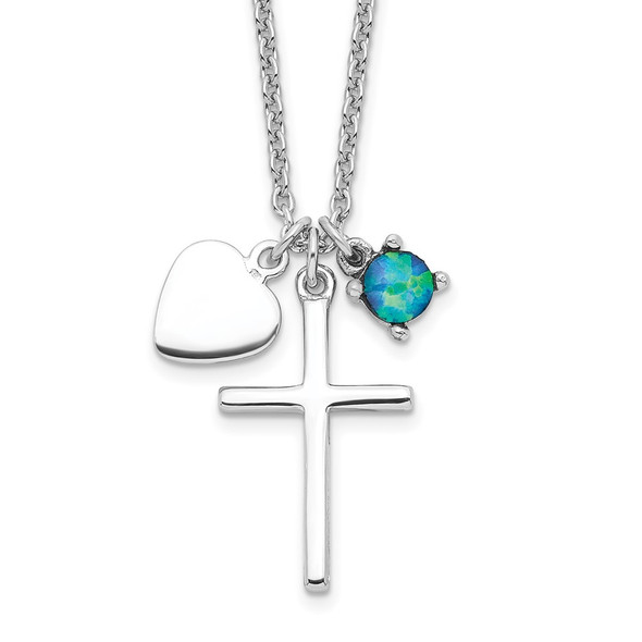 Rhodium-plated Sterling Silver Created Blue Opal Cross Necklace